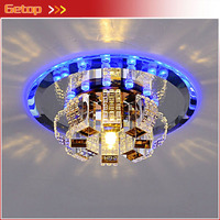 ZX K9 Crystal Glass Lustres Circular Ceiling Lamp Fixtures G4 LED Light Balcony Corridor Bedroom Livingroom