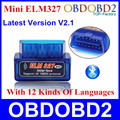 2016 Mini ELM327 ELM 327 Bluetooth V2.1 OBD2 OBDII Diagnostic Tool For Android Torque Car Code Scanner Multi-Languages Free Ship