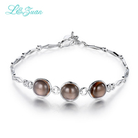 I&zuan Sterling Silver Jewelry Crystal Brown StoneTrendy Bracelet For Women 5.48ct Natural Smoky Quartz Bangels Accessories 4445