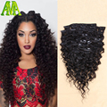 8A Unprocessed DHL Free Shipping Deep Wave Clip In Extensions Brazilian Virgin Hair Clip In Human Hair Extensions Wavy Clip Ins