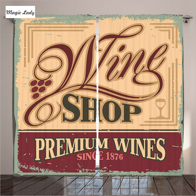 Insulated curtains living room bedroom vintage rusty metal for Wine shop decoration