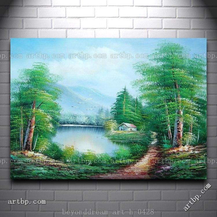 Tenang Danau Pemandangan Di Eary Musim Semi Lukisan Minyak