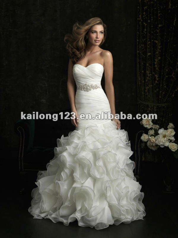 Latest Sweetheart Fit and Flare Chapel train Ruched Ruffle Crystal ...