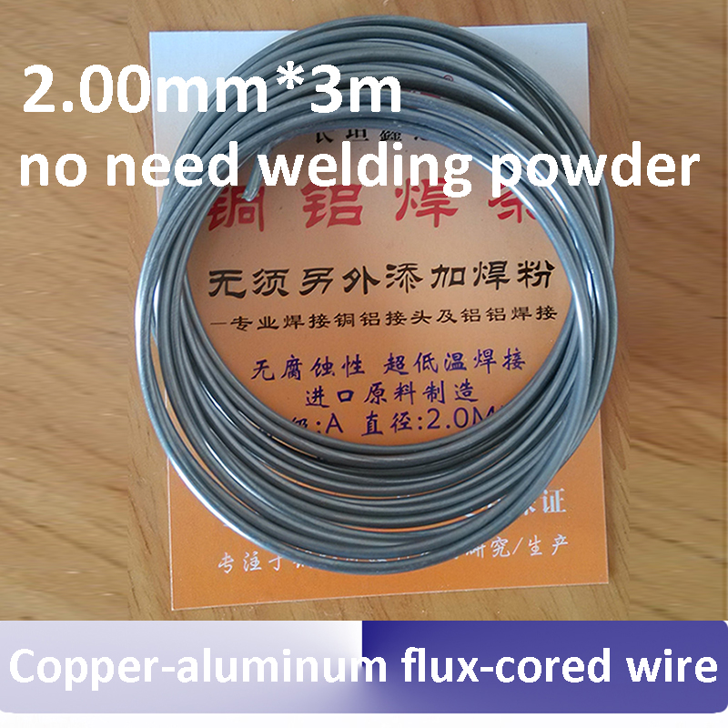 2.00mm*3m Copper aluminum flux cored wire low temperature copper-aluminum welding rods for air conditioner refrigerator copper aluminum welding rod refrigerator aluminum pipe air conditioning copper and aluminum connectors aluminum sheet 37cm