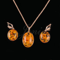 JENIA Unique Beautiful Yellow Amber Design Jewelry Sets Retro Round Drop Earrings And Pendant Set Gold