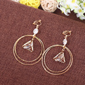 female personality elegant long design round non-piereced bijouterie earrings brincos Big circle clip-on earrings