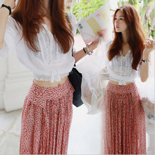2016 Sexy Crop Top And Skirt Set Bohemia Embroidered Cotton Shirt + Chiffon Floral Print Skirt For Women RM-69