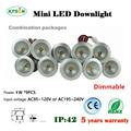 wholesale 1W Mini Led Spot light Mini Dimmable Led Recessed Downlight 25mm cut input 85-277V With Led Driver 60/120D