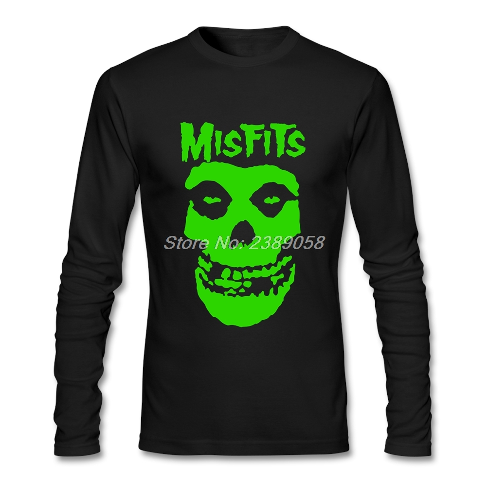 Mens T shirts  Long Sleeve Casual Normal Misfits Skull New Arrival Tee Shirts Cotton Camisetas Men t shirt XS,S,M,L,XL,2XL misfits t shirt flag