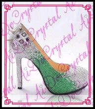 Aidocrystal weiß und grün kristall oberen silber nieten runde kappe luxus schöne 14 cm high heel schuhe
