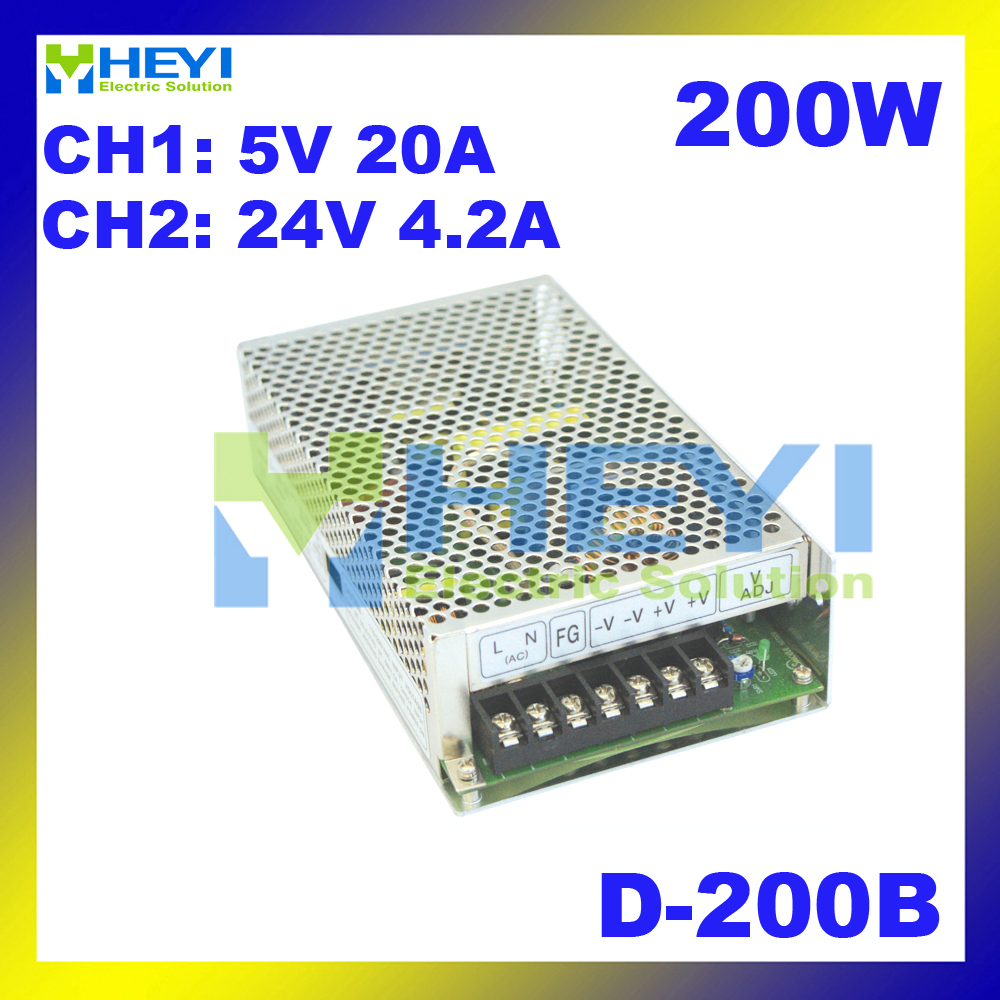 110 / 220VAC 200W power supply D-200B 5V 20A & 24V 4.2A miniature power supply with dual switching output 200b
