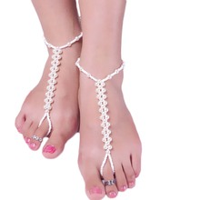 1 Pcs Women Anklets Beach Wedding Imitation Pearl Elastic Barefoot Sandals Stretch Anklet Chain Footless Bridal Foot Jewelry