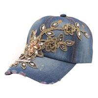Fashion cotton denim caps 2016 Vogue Women Diamond Flower ball Cap Summer style Lady Jeans Hats