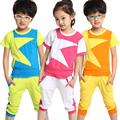 2015 fancy star printed summer cotton shorts and T-shirts 2pcs set young fashion juvenile clothes cool guy clothes set gifts