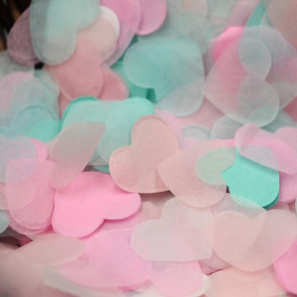 Valentine\'s Day Decor, Pink Heart Confetti, Mint Table Confetti ...