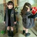 Crianças Colete 2017 meninas Colete Outono E Inverno Crianças Outerwear Criança Coreano Engrossar Coletes À Prova de Colete Além de Veludo Com Capuz Quente