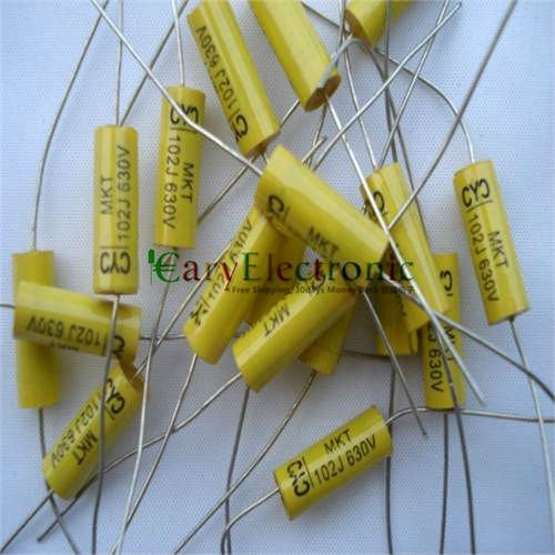 100pc NEW long lead Axial Polyester Film Capacitor 0.001uF 630V tube amp radio