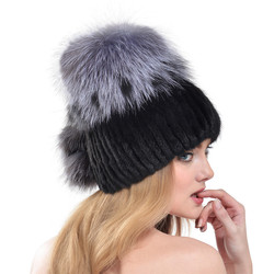 Super Quality 2016 New Winter Russia Style Women Fur Caps Real Knitted Mink Fur Hat With Real Silver Fox Fur Top Beanie LH336