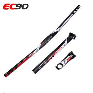 Image 3 - עור סיבי פחמן MTB סיבי EC90 אופני סט 3 שטוח חלקי אופני הרי MTB riser כידון + גזע + seatpost