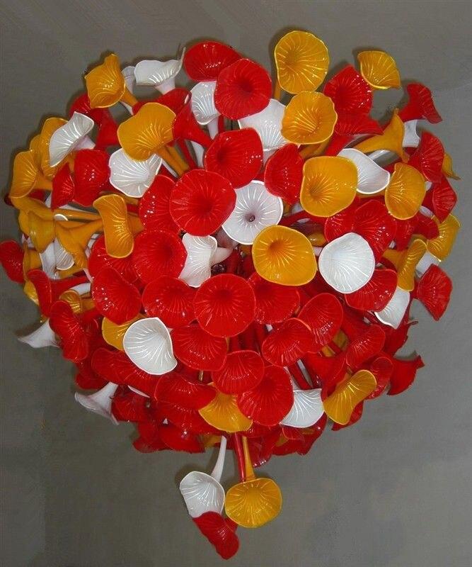 Новый Домашний декор белый и красный и желтый цветок люстра светодиодные лампы довольно руки черные Стекло AC 110/120/ 220/240 В