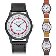 Homens Da Moda Pulseira de Couro Falso Duplo Mostrador do Relógio de Design Analógico Quartz Relógio de Pulso