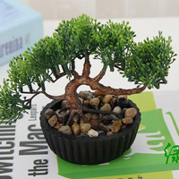 1ชิ้นพืชในร่มตกแต่งจำลองขนาดเล็กพืชบอนไซประดิษฐ์ดอกไม้กระถางบอนไซชุดขายส่งตกแต่งบ้า