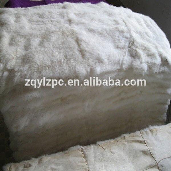 Plaque de fourrure de lapin Rex blanc naturel tapis de fourrure véritable/couverture de fourrure
