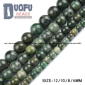 Africano contas de jade verde Rodada Solta pérolas de Pedra Natural de qualidade Superior bola 6/8/10/12 MM acessórios artesanais de Jóias pulseira DIY