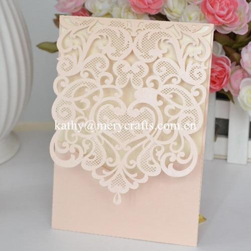 Laser Cut Wedding Invitation Pocket Greeting Cards Pockets Fold Invitations Peach