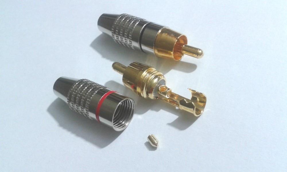 100 шт. RCA Штекер Аудио Видео Блокировка кабеля Разъем позолоченный