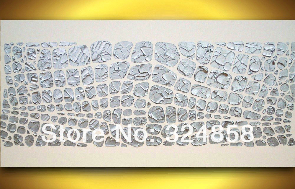 handmade abstract art white rectangle textured oil painting on