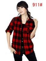 женщины рубашки шотландка 100% хлопок трещины рубашка одежда блузы м L хl ххl wts057