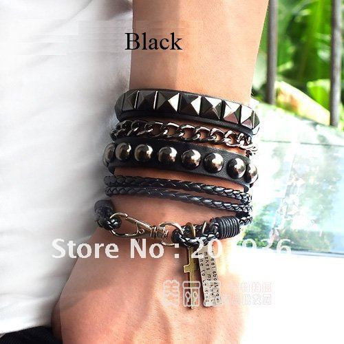 Free Shipping New Fashion Leather Rope Bracelet Set Clinches Cross Tag Long