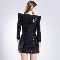 новое постулат мода рукава потрясающие черный мини Blast коктейль платье бал ну watering знаменитости женская платья jh161