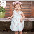 DB3295 dave bella flor imprimió el vestido del verano del bebé del bebé rosas vestido de cumpleaños de los niños visten ropa de niños girs trajes