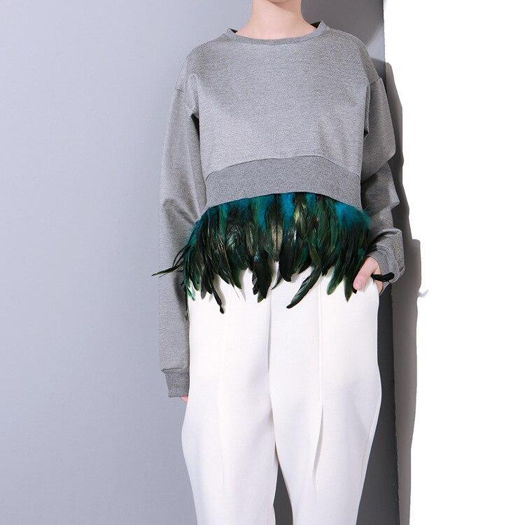 Укороченный пуловер с перьями с Алиэкспресс