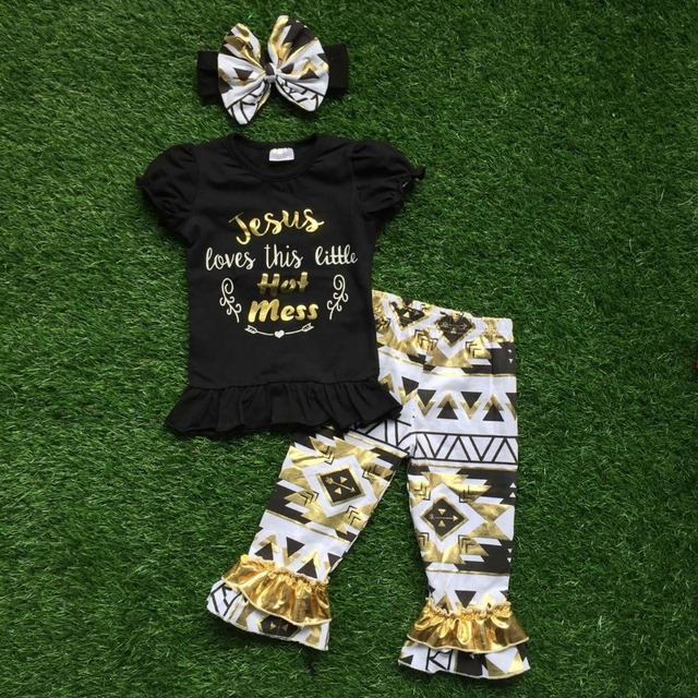 2016 Summer girls outfit  baby girls clothing Jesus loves this little hot mess clothes with matching headband