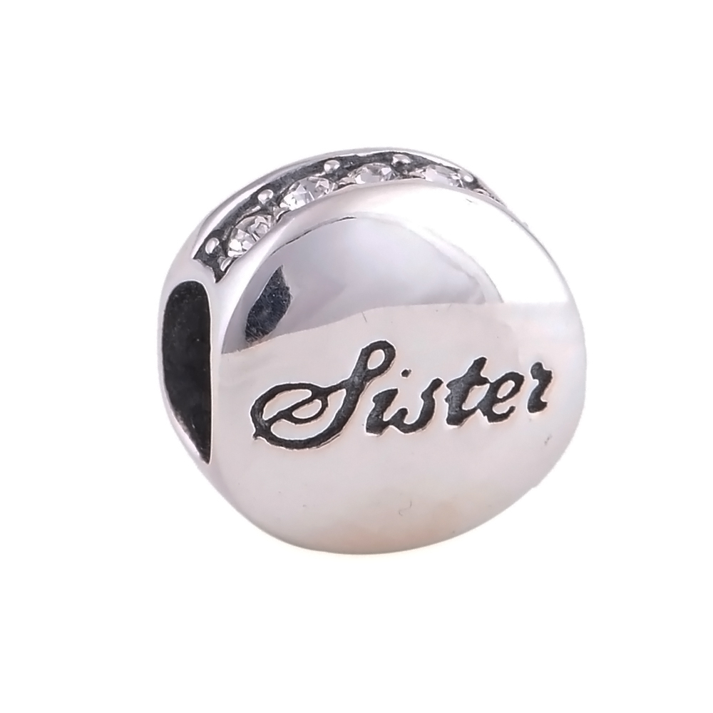 ca188bc17 Everbling Love Sister Clear CZ 100% 925 Sterling Silver Charm Bead Fits ...
