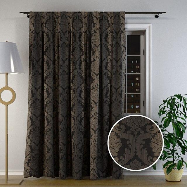 chambre rideaux et rideaux blackout fleurs baroque de luxe floral conception laisse courb noir. Black Bedroom Furniture Sets. Home Design Ideas