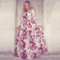Осень Лето Стиль Шею Длинным Рукавом Поставил Печати Платье высокий Талии Vestidos Mujer 2016 Платье De Festa Курто Для Женщин