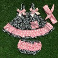 little girls boutique clothing sets infant decorative pattern clothes baby aztec pink white dot swing tops matching headband