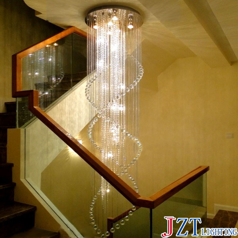 M Modern Spiral Crystal Ceiling Light Fixture Long Crystal Stair Lamp Flush Mounted Stair Light Fitting for Staircase Villa
