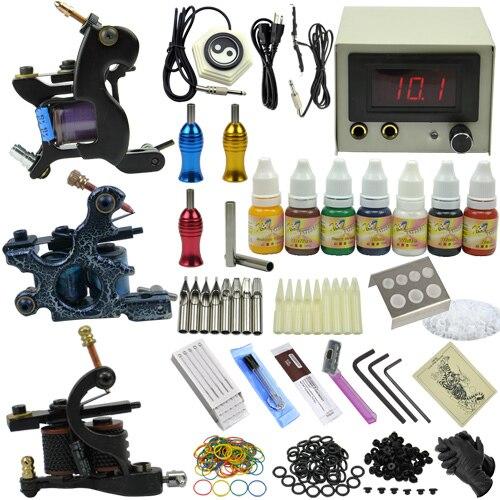 3 Tattoo motor guns Professional tattoo kit with tattoo power Supply needles ink tattoo machine set MC-KIT-A3003