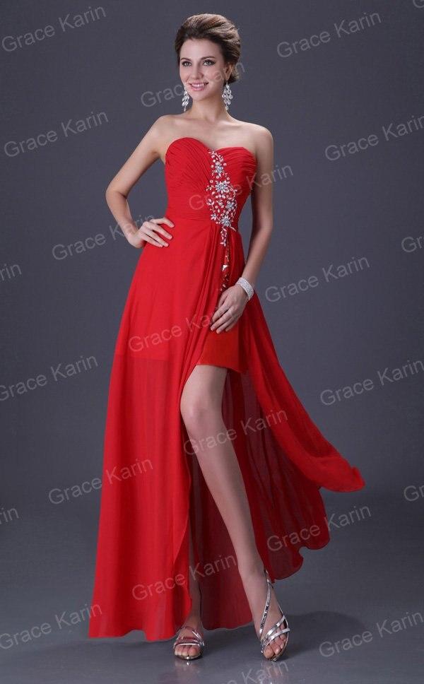 Red Long Evening Dresses 2017 Grace Karin Sexy Slit Chiffon cheap ... f05f543901dd