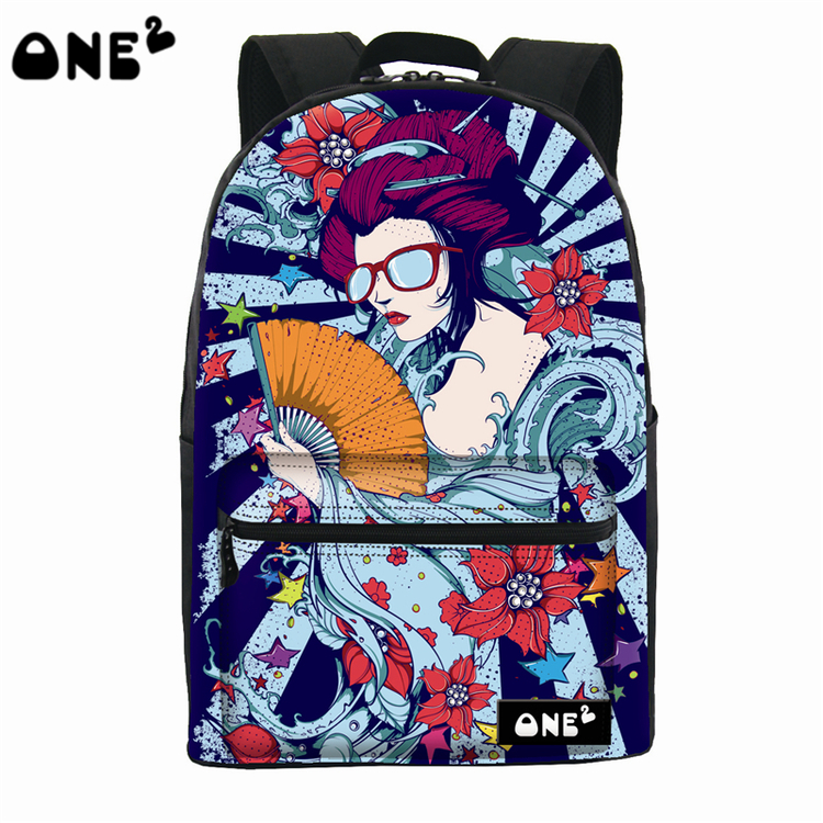 2016 ONE2 Design Cold woman pattern canvas backpack laptop bag women fashion backpack teenage