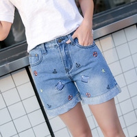 Women S Jeans Summer Embroidery Pattern High Waist Stretch Denim Shorts Loose Casual Women Jeans Shorts