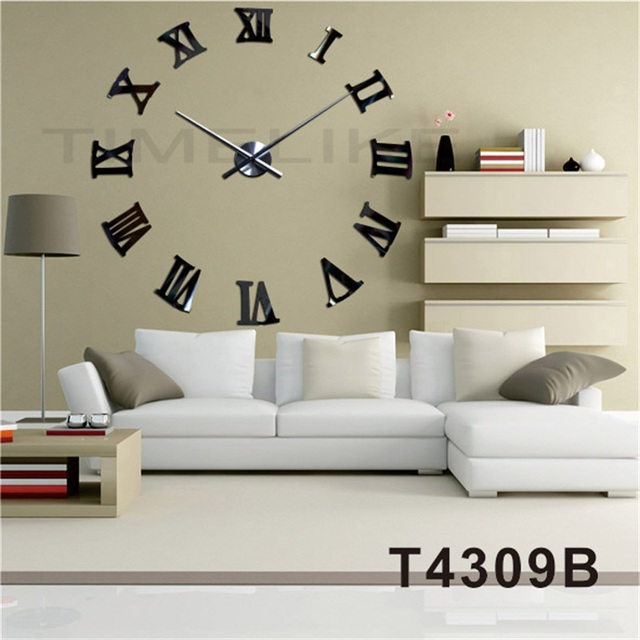 c576744912e941 Grandes Horloges Murales Décoratives Chiffres Romains BRICOLAGE Quartz 3D Horloge  Murale Décor À La Maison Grand