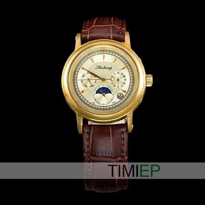 ponteiro tipo relógio de couro mecânico clássico relógios de pulso