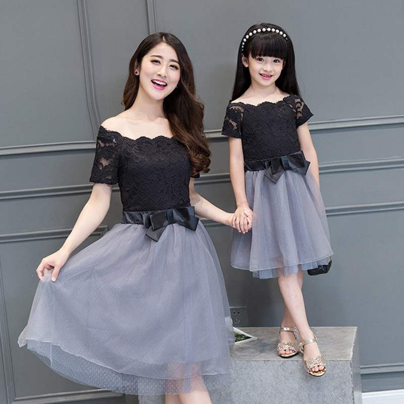 2018 summer mother daughter dresses girls women maxi black wedding dress princess family look matching mother daughter clothes summer dress girl matching mother daughter dress lace dresses for wedding party family look vestido mae e filha girls dresses