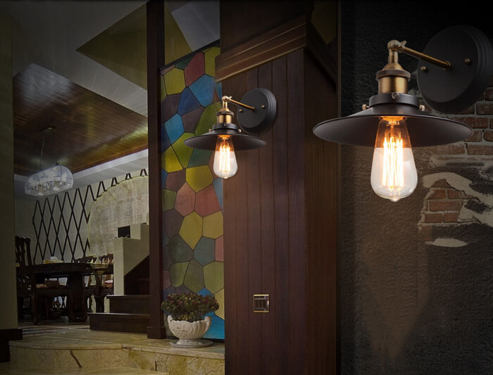 ZX industrielle rétro fer applique E27 vis ampoule rotation Joint diamètre 22 cm lumières chambre couloir Lamp110V/220 V livraison gratuite - 4